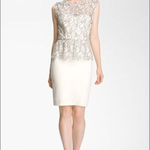Alice + Olivia Shovan lace overlay peplum dress